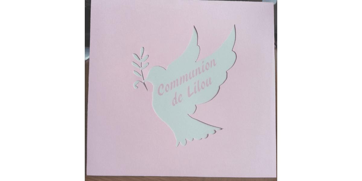 FAIRE-PART ROSE COLOMBE COMMUNION